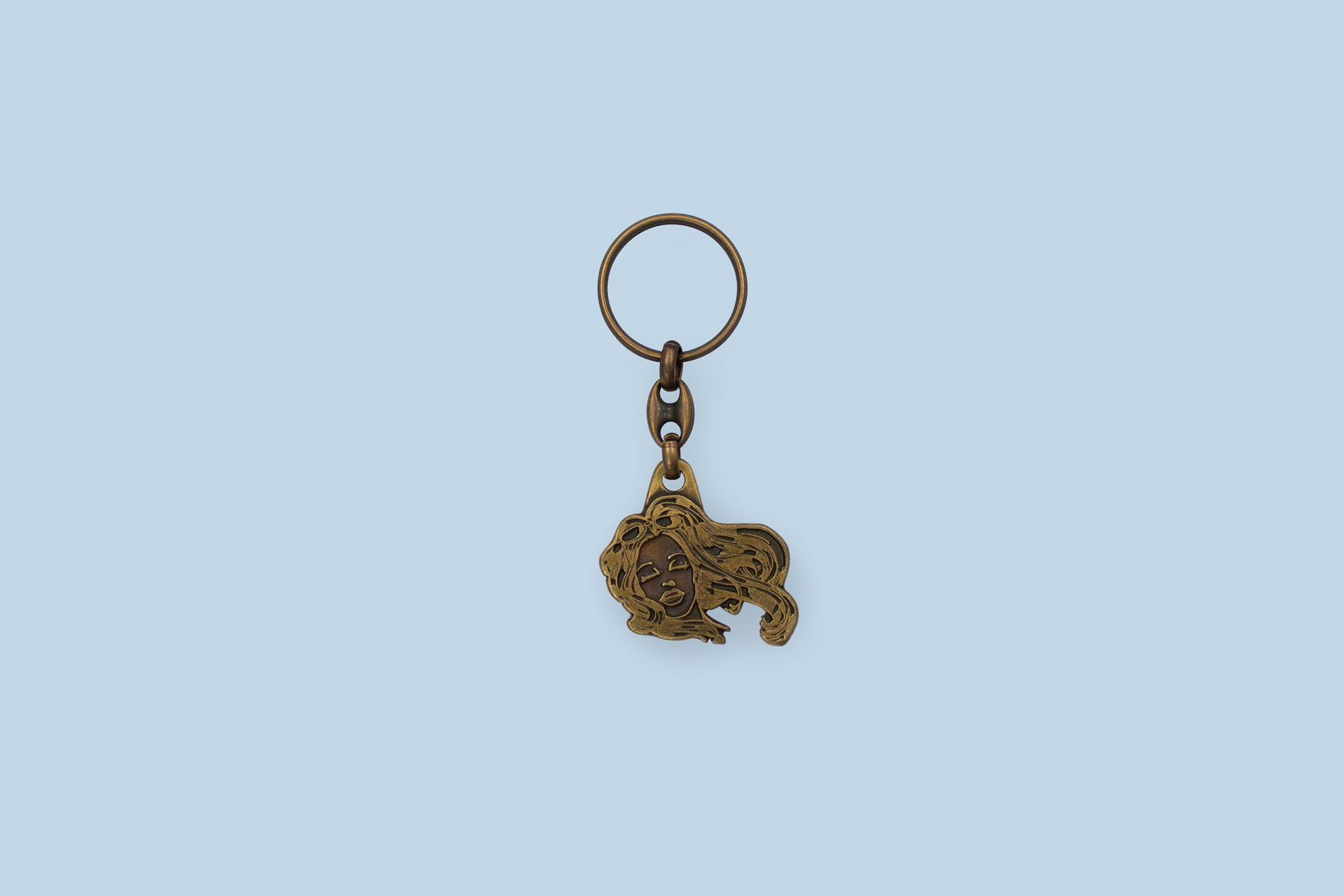 Brass-colored plated enamel Keychain