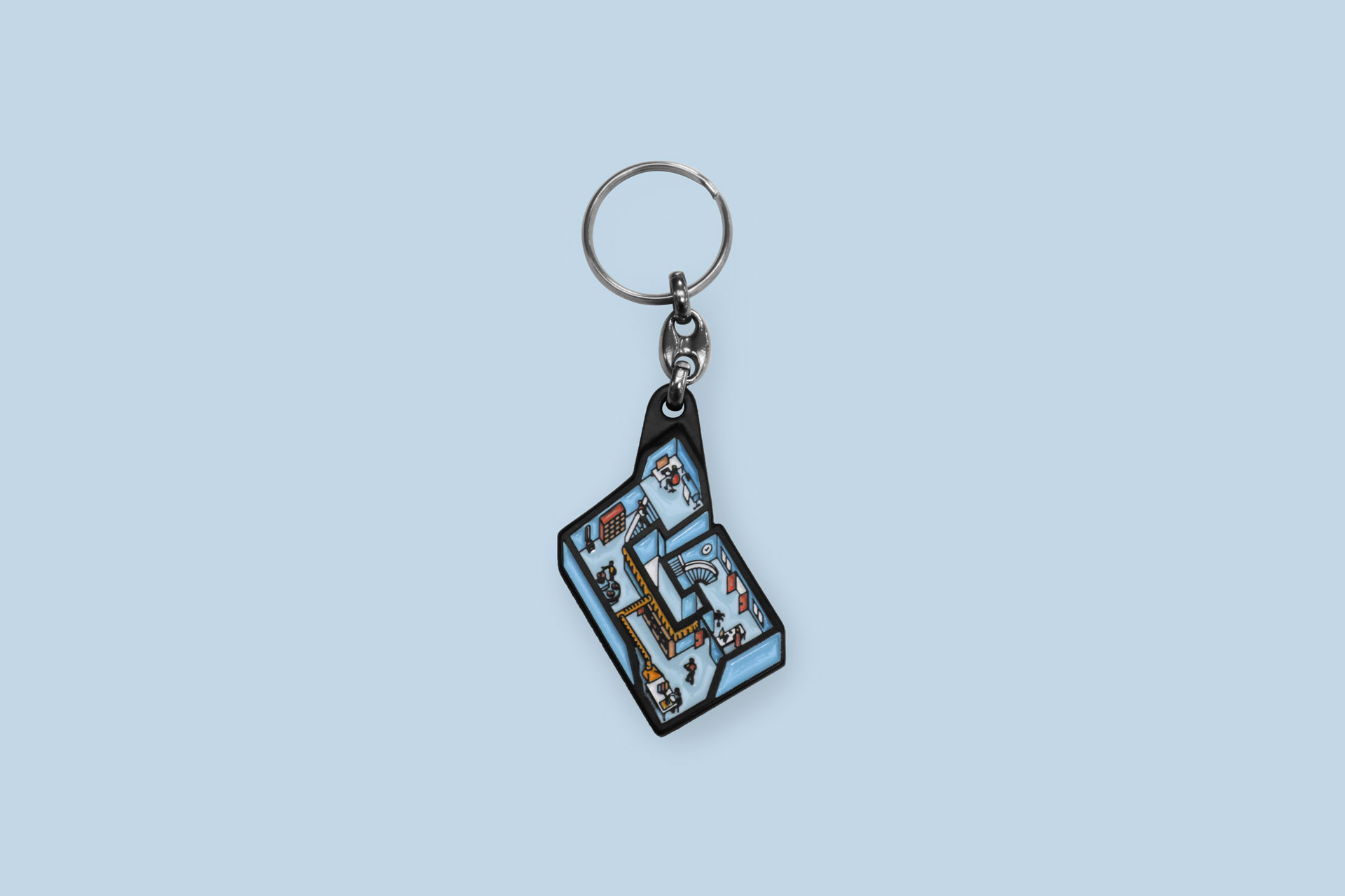 Black-plated enamel Keychain